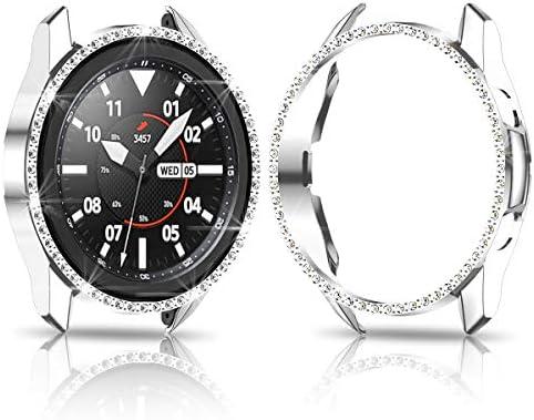 Samsung Galaxy Watch 3 41mm Hard Diamond Case,JZK Bling Crystal Diamonds Protective Cover PC Plated Bumper Frame Women Samsung Galaxy Watch 3 41mm SM-R850 Accessories,Black+Silver+Clear 41txqL3QG8L