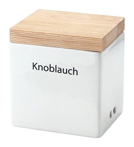 Continenta Knoblauch Vorratsdose aus Keramik mit Holzdeckel, Knoblauchtopf, Knoblauchdose mit Aufschrift: Knoblauch, Größe: 14 x 12 x 15,5 cm