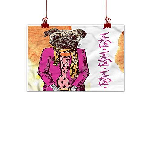 Sunset glow Fabric Cloth Rolled Pug,Fashion Icon Scarf Jacket 28