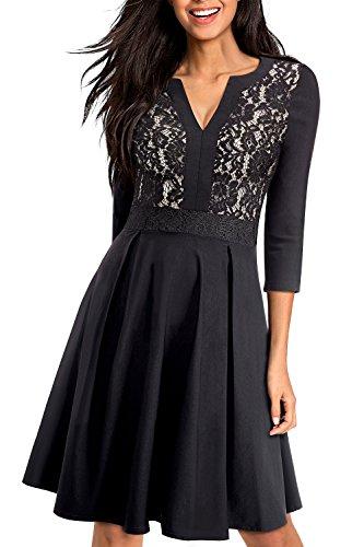HOMEYEE Women's V-Neck 3/4 Sleeve Lace Vintage Flare Dress A056 (12, Black)