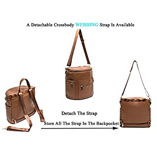 Leather Diaper Bag Backpack by Miss Fong, Diaper Bag with Changing Pad, Diaper Bag Organizer,Stroller Straps and Insulated Pockets (Brown-Convertible)
