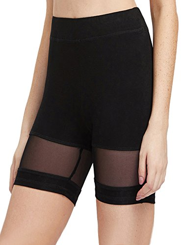 SweatyRocks Women's Mesh Panel Biker Legging Shorts Yoga Gym Workout Shorts (X-Large, -