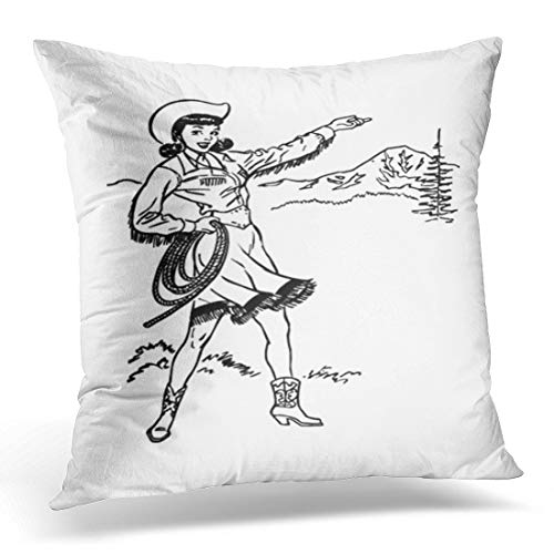 - Emvency Throw Pillow Cover Happy Woman Cute Cowgirl Retro Clip Clipart Mountains People Decorative Pillow Case Home Decor Square 18