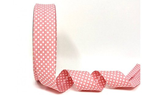 Byetsa Antique Rose 30mm Polka Dot Bias Binding on a 2m length (N.B. this is a cut from a roll) Ideal for bunting, craft projects, sewing 7480