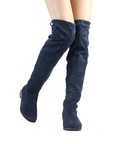 DREAM PAIRS Womens Suede Over The Knee Thigh High Winter Boots Dark Blue-up ohgVC69C5