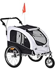 Aosom Elite II Dog Bike Trailer 2-in-1 Pet Stroller Cart Bicycle Wagon Cargo Carrier Attachment for Travel with Suspension and Storage Pockets, White