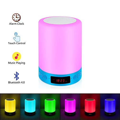 RC Bedside Table Lamp, Portable Bluetooth Speakers + Touch Sensor Dimmable Warm White RGB LED Lights for Bedroom