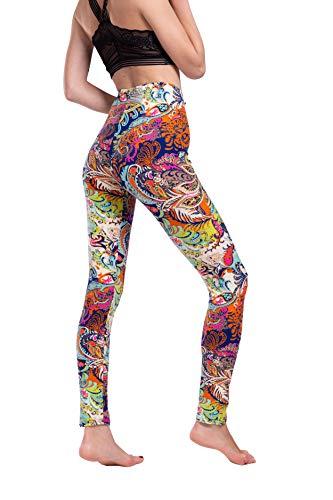 Paisley Floral Leggings for Women - Ankle Length Mid Waist Athletic Quick Dry Yoga Leggings Pants for Womens Plus Size Beige