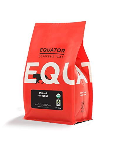 Equator Coffees & Teas Jaguar Espresso, Fair Trade & Organic, Roasted Fine Ground Coffee for Espresso Or Moka Pot,, 12 Oz ()
