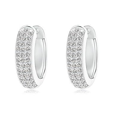 Angara Triple-Row Diamond Studded Huggie Hoop Earrings in White Gold FCj2VzM