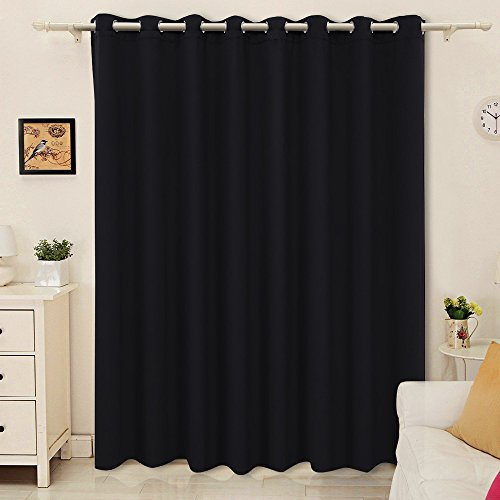 SONGMICS Blackout Curtain Thermal Insulated Window Drape Solid Grommet 100 by 84 inch Black 1 Panel ULRB245H