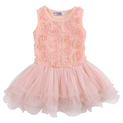 Kids Girls Princess Party Rose Flower Lace Ruffled Layered Tutu Skirt Dress 2-7y (3-4 Years, (Rose Pink Layered)