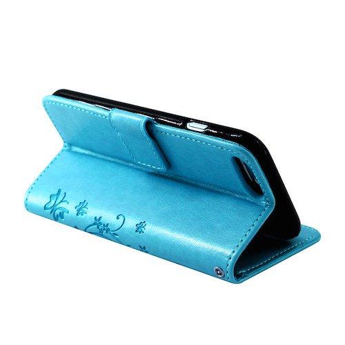 betterfon | Flower Cover Handytasche Schutz Hülle Blume Case Buch Klapptasche Handyhülle Handy Schale für Apple iPhone 7 Plus Blau