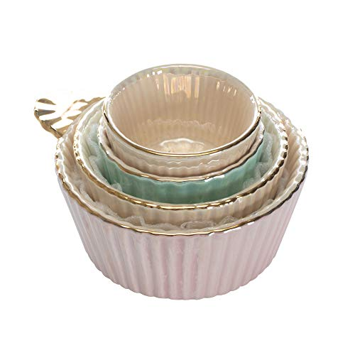 Fluted Handled Iridescent Gold Tone Cup Glossy Ceramic Measuring Cup Set of - Fluted Ceramic