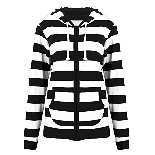Hot FANTIGO Women's Casual Hoodie Zipper Stripe Lightweight Sweatshirt free shipping
