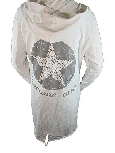 Italy Fashion Sudadera Abrigo Cárdigan Chaqueta de entretiempo Chaqueta de punto Estrella Star Brillo Capucha ( más colores) Blanco