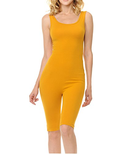 7Wins JJJ Women Catsuit Cotton Lycra Tank Bermuda Short Yoga Bodysuit Jumpsuit (1X, Mustard) ()