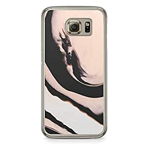Samsung Galaxy S6 Transparent Edge Phone Case Pink Black Marble Phone Case Elegant Marble Samsung S6 Cover with Transparent Frame