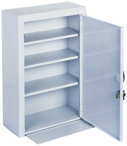 Durham 518-43-MD White Cold Rolled Steel Medicine Storage Cabinet with Metal Door, 18'' Width x 27'' Height x 8'' Depth