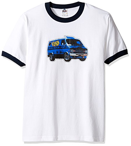 FEA Men's Beastie Boys Van Art Ringer T-Shirt, White/Navy, XX-Large