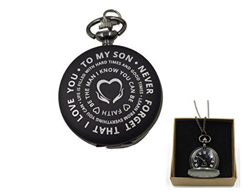 To My Son And Wife Pocket Watch Family Xmas Gift for Her and Him From - Jewels 15 Pocket Watch