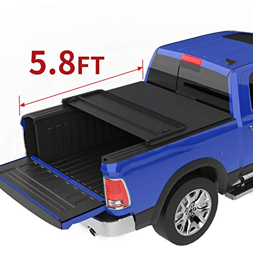 oEdRo Tri-Fold Truck Bed Tonneau Cover Compatible with 2009-2019 Dodge Ram 1500 Without Ram Box (2019 Classic & New Body Style), Fleetside, 5.8 Feet Bed