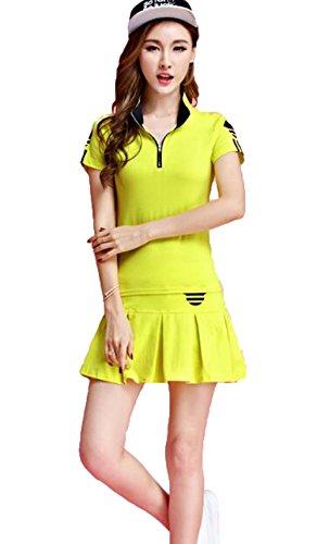 [ジュンィ] レディース セットアップ ゴルフウェア 上下セット 半袖+スカート テニスウェア 2点セット カジュアル おしゃれ