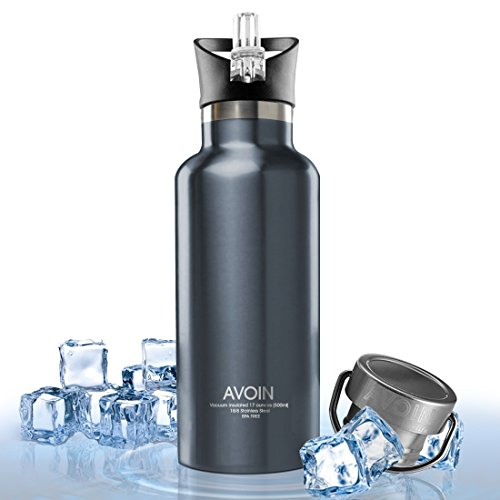 AVOIN colorlife 17-Ounce Vacuum Insulated Stainless Steel Sport Water Bottle with 2 Loop & Straw Caps - BPA Free