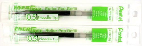 2 Pk Pentel LRN5-D EnerGel Refills, 0.5 mm Fine Needle Tip, Green