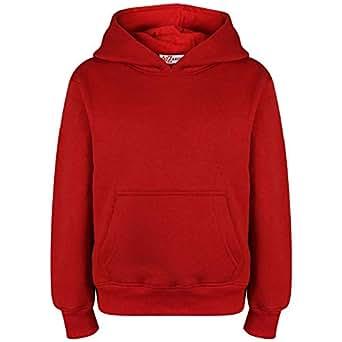 Kids Girls Boys Sweat Shirt Tops Plain Red Hooded Jumpers Hoodies Age 2-13 Years