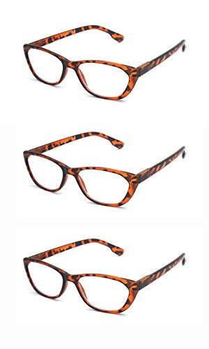 EYE ZOOM 3 Pairs Ladies Readers Cat Eye Style Reading Glasses with Spring Hinge for Women, Brown Tortoise, 3.50 Strength