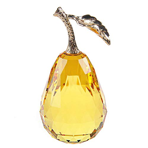 Waltz&F Crystal Glass Pear Paperweight Fengshui Craft Home Decoration Ornaments Gift Box(yellow)