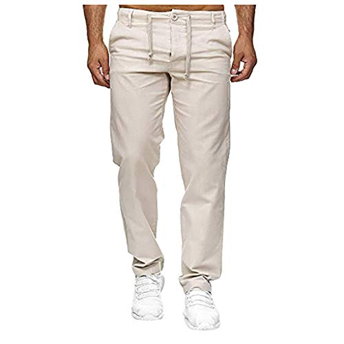 Men's Pants Casual Linen Drawstring Straight-fit Pants Athletic-fit Work Cargo Pants with Pockets Silver