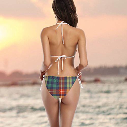 Mujer De o ador Multicolor Cuadros Traje Piezas A Ba Bikini Ba Alaza Dos HzPxgpE