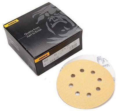 Mirka 23-615-AP Gold 5-Inch 8-Hole Dustless Hook-and-Loop Sanding Disks, 10 Each of 5 Grits