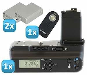 Impulsfoto - Empuñadura de batería para Canon EOS 1000D, 500D y 450D (con temporizador LCD y disparador por infrarrojos, incluye 2 baterías LP-E5, similar a BG-E5)