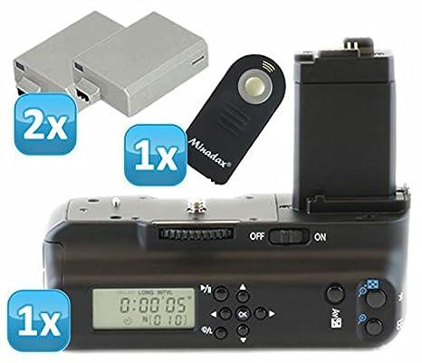 Impulsfoto - Empuñadura de batería para Canon EOS 1000D, 500D y 450D (con temporizador LCD y disparador por infrarrojos, incluye 2 baterías LP-E5, ...