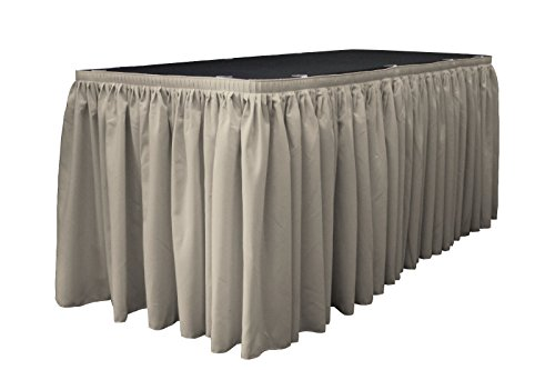 LA Linen Polyester Poplin Pleated Table Skirt with 10 Large Clips, 14-Feet by 29-Inch, Light Gray - 14' Table Light