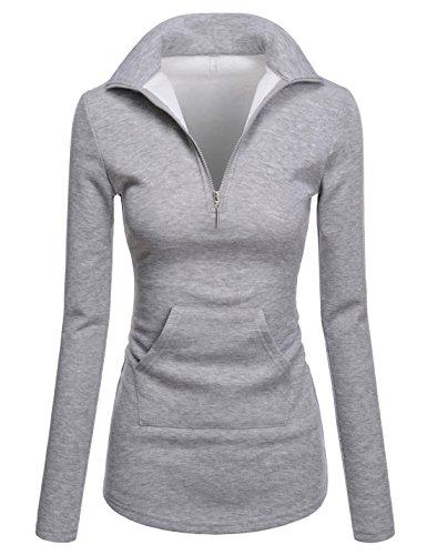 NEARKIN Women Soft Fleece Lined Comfy Slim Cut Upturned Collar Zipup Tshirts