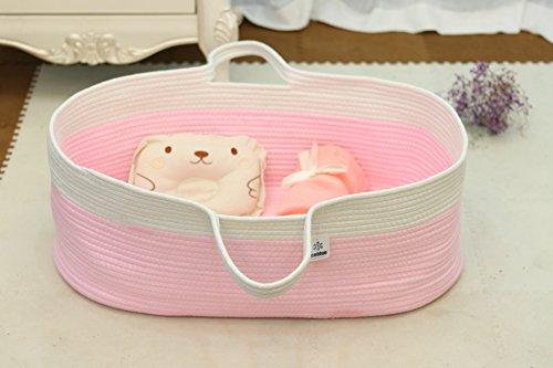 Jumbo Bassinet (ICEBLUE Spacious Soft Moses Basket Cradle Bedding Set Nursery Storage Basket Toy Basket Baby Shower gift set (for Baby Girl))