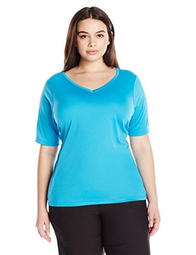 Kanu Surf Women's Plus Size Solid UPF 50+ Swim Shirt Rashguard, Aqua, 3X
