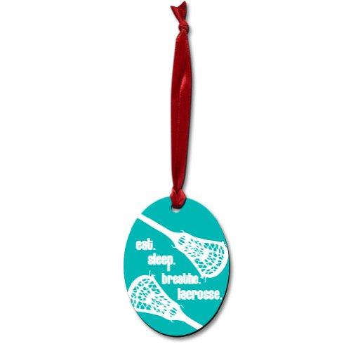 Oval Lacrosse Ornament (Design=Eat-Sleep-Breath)