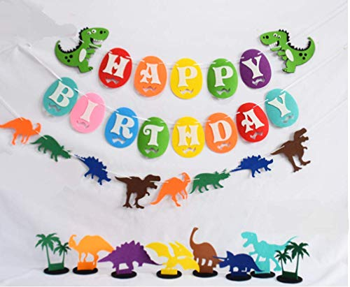 Astra Gourmet Dinosaurs Banner Happy Birthday Garland & Dino Table Decorations for Dinosaur Themed Birthday Party Baby Shower -