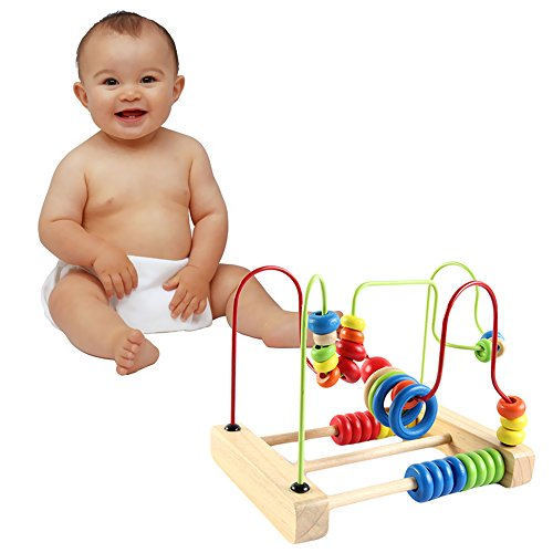 Montessori Baby Toys Classic Large Wire Beads Maze Wooden Toys Around The Mirror Child Gift Early Learning Skills From Funny (Abc 13 Days Of Halloween)