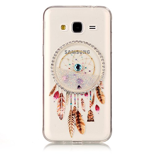 LuckyW Silicone Case for Samsung Galaxy J5 (2015) J500F Phone Case Dreamcatcher Sandblasting Fluid [Scratch-resistant, dust-proof, shockproof, anti-fingerprint]-Rosa Blanco