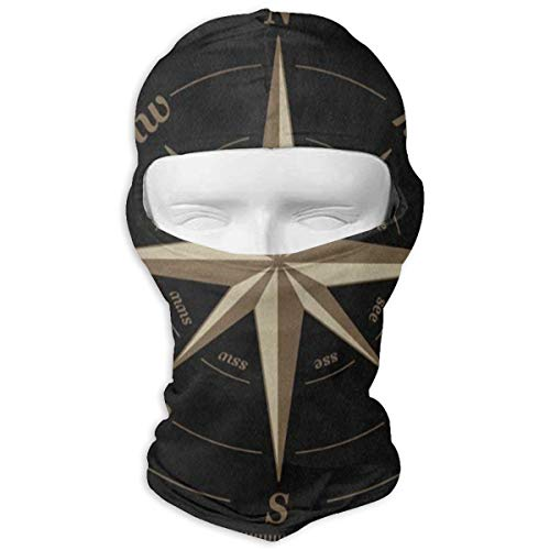 Balaclava Compass Rose Artwork Black Full Face Masks Ski Motorcycle Neck Hood