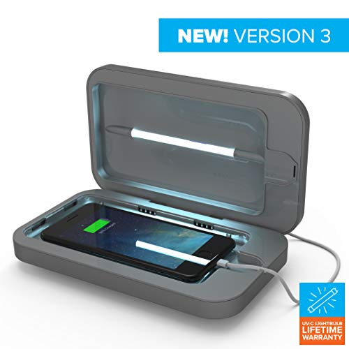 PhoneSoap 3.0 UV Sanitizer and Universal Phone Charger (Light Silver 3.0, Single)