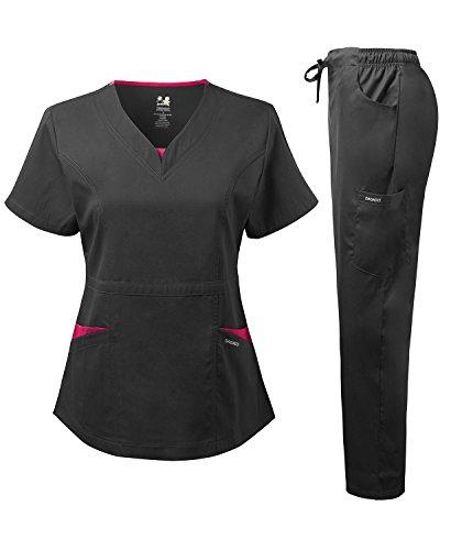 Dagacci Medical Uniform Women's Scrubs Set Stretch Split Contrast Net and Pocket (Large, ()