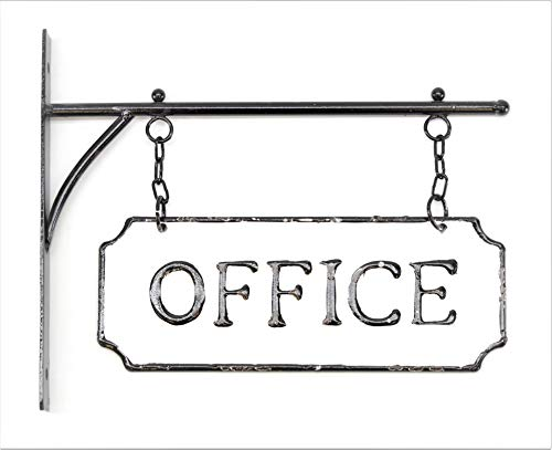 (Silvercloud Trading Co. Rustic Hanging Double-Sided Office Embossed Black on White Enamel Metal Sign with Bracket - Business Wall Decor - Room Label -)