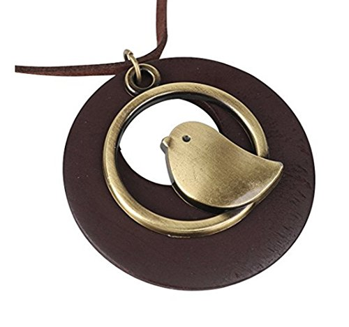 Miweel Antique Bronze Baby Bird with Brown Wood Pendant Sweater Necklace Women Girls Clothing Accessories 16